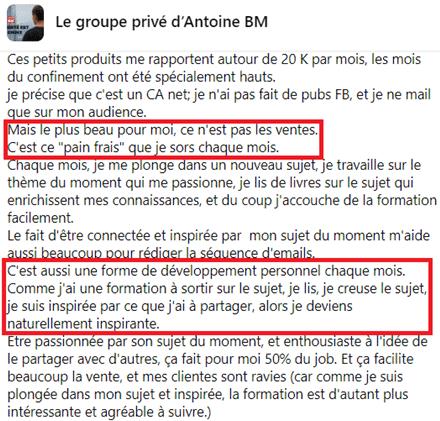 témoignage groupe privé Antoine BM méthode des petits produits