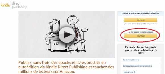 inscription kindle direct publishing kdp