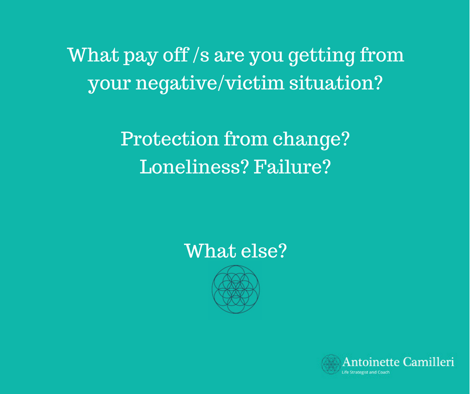 Every negatve situation has a pay off or pay offs. Being aware of these helps us understand why we may not work so hard to change things.