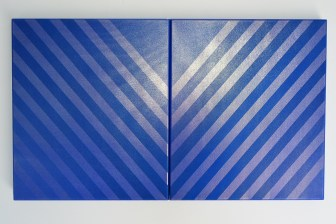 V- Diptych 2015 Acrylic, silk, spray paint, wooden stretcher 350 x 400 mm each (diptych)