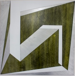 Halcyon Fields 2016, Oil, enamel, graphite, aluminium, 800 x 800mm