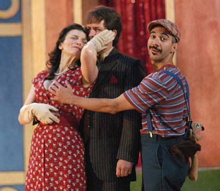 as Adriana with Reese Madigan and Evan Zes in THE COMEDY OF ERRORS at Shakespeare on the Sound, directed by Ezra Barnes
