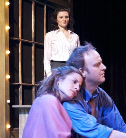 as the Narrator with Jeremiah Wiggins and Sarah Kate Jackson in THE PAVILION at Dorset Theatre Festival, directed by Giovanna Sardelli