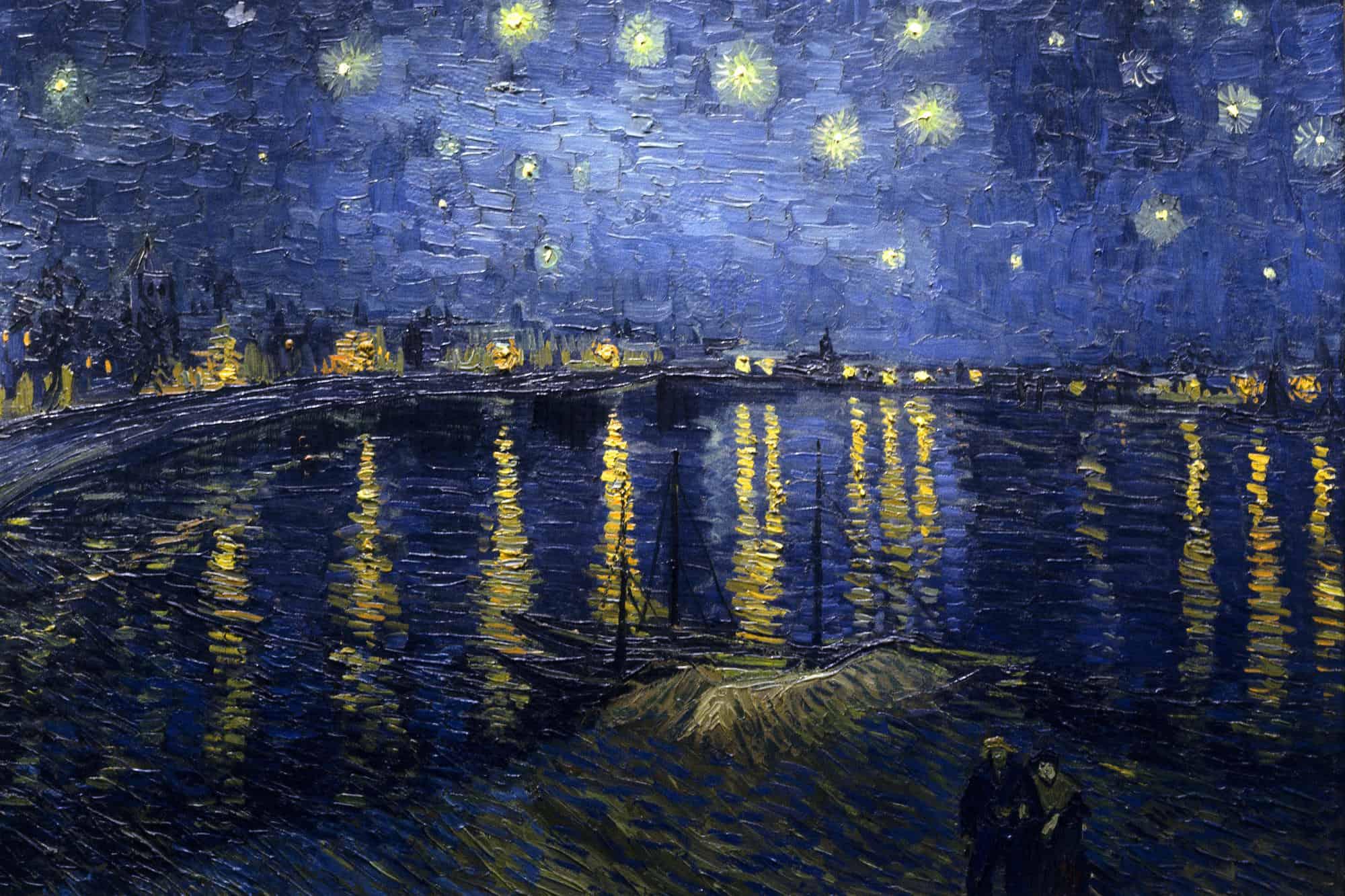 Photo of ليلة مرصعة بالنجوم على نهر الرون لـ فينسنت فان غوخ