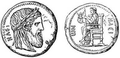 Forngrekiska_mynt_från_Elis_med_bilder_efter_Fidias_staty_av_Zeus_i_Olympias_Zeustempel