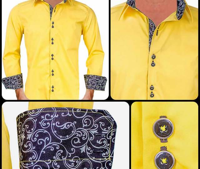 Bright Yellow With Black Contrast Dress Shirts