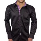Purple Paisley Dress Shirt Men