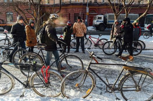 Второй московский зимний велопарад в Москве.