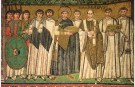 Byzantine Emperor Justinian I (527 - 565) and his court depicted on the walls of the Basilica of San Vitale in Ravenna, Italy.