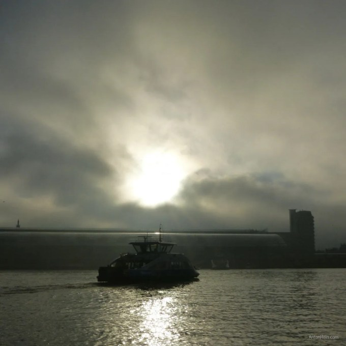 Ferry on the river IJ in Amsterdam