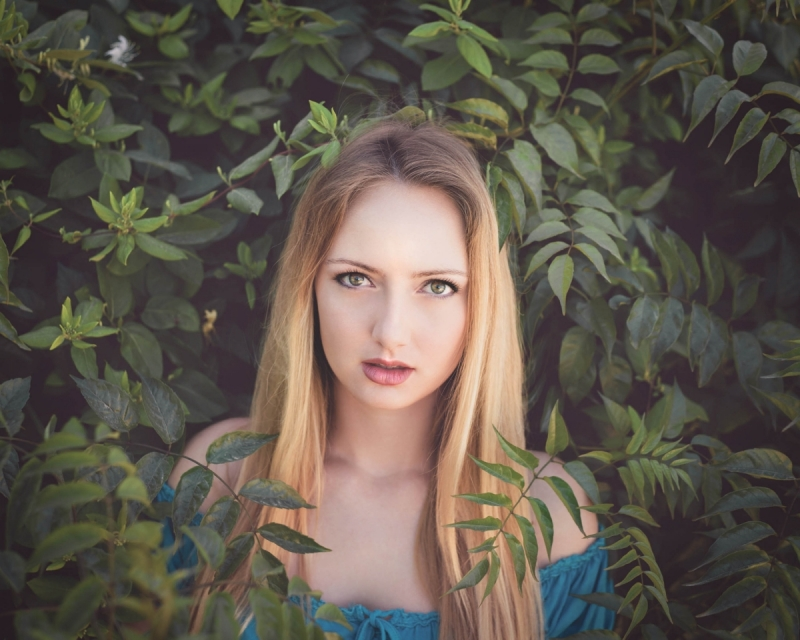 Model Photo Session with green trees