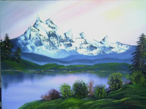Antonie's Malerei Landschaften nach Bob Ross