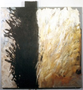 """Ella"" oil on canvas with attached wood, © Antonio Dias"