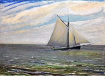 """""""Sloop Boat, Noon"""" 18"""" x 24"""" oil on canvas © Antonio Dias"""