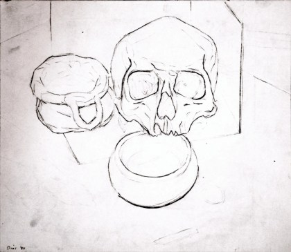 Still life, Skull and Two Bowls