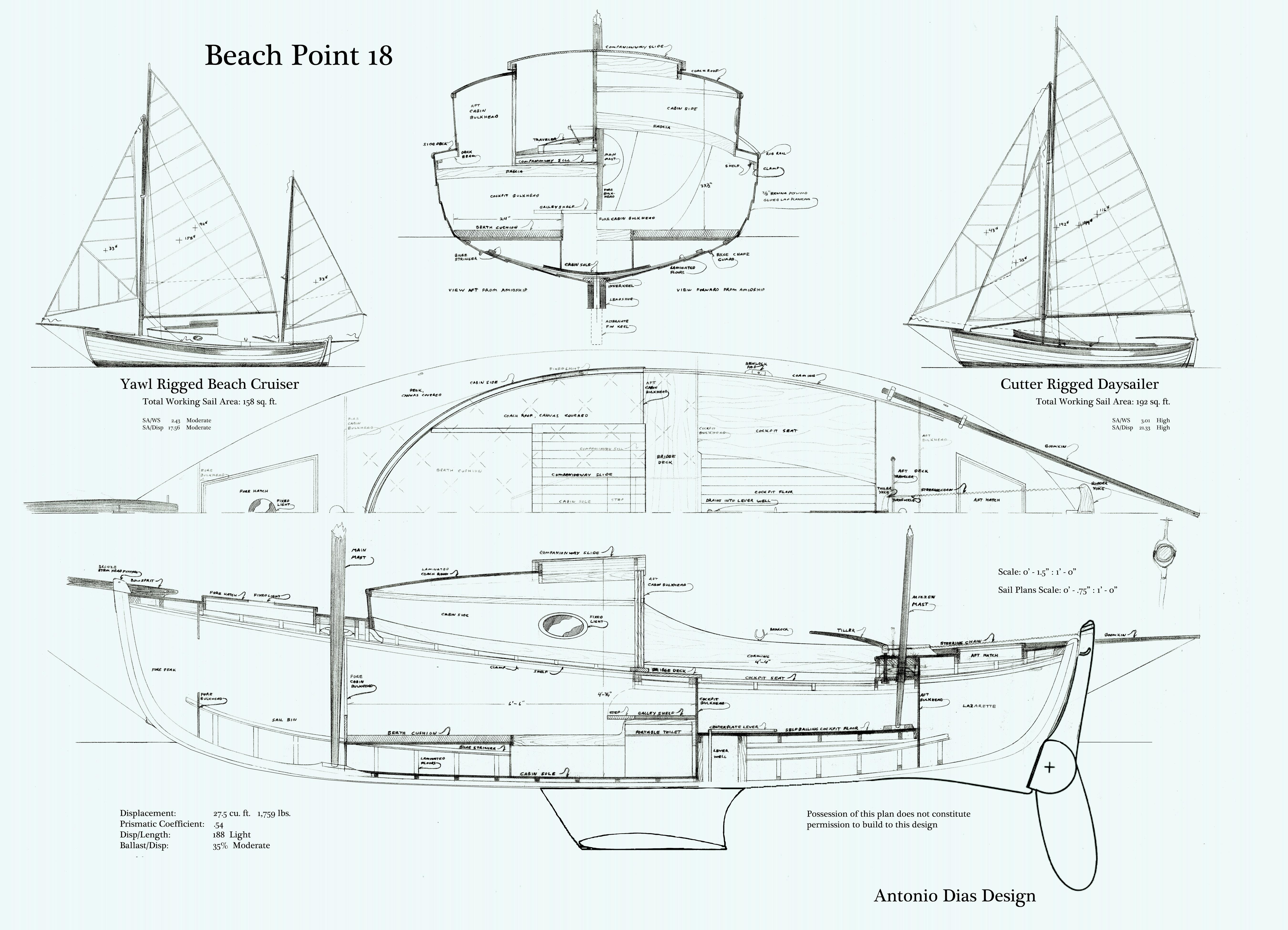 Beach Point 18 Arrangement Plan & Sail Plans keeled