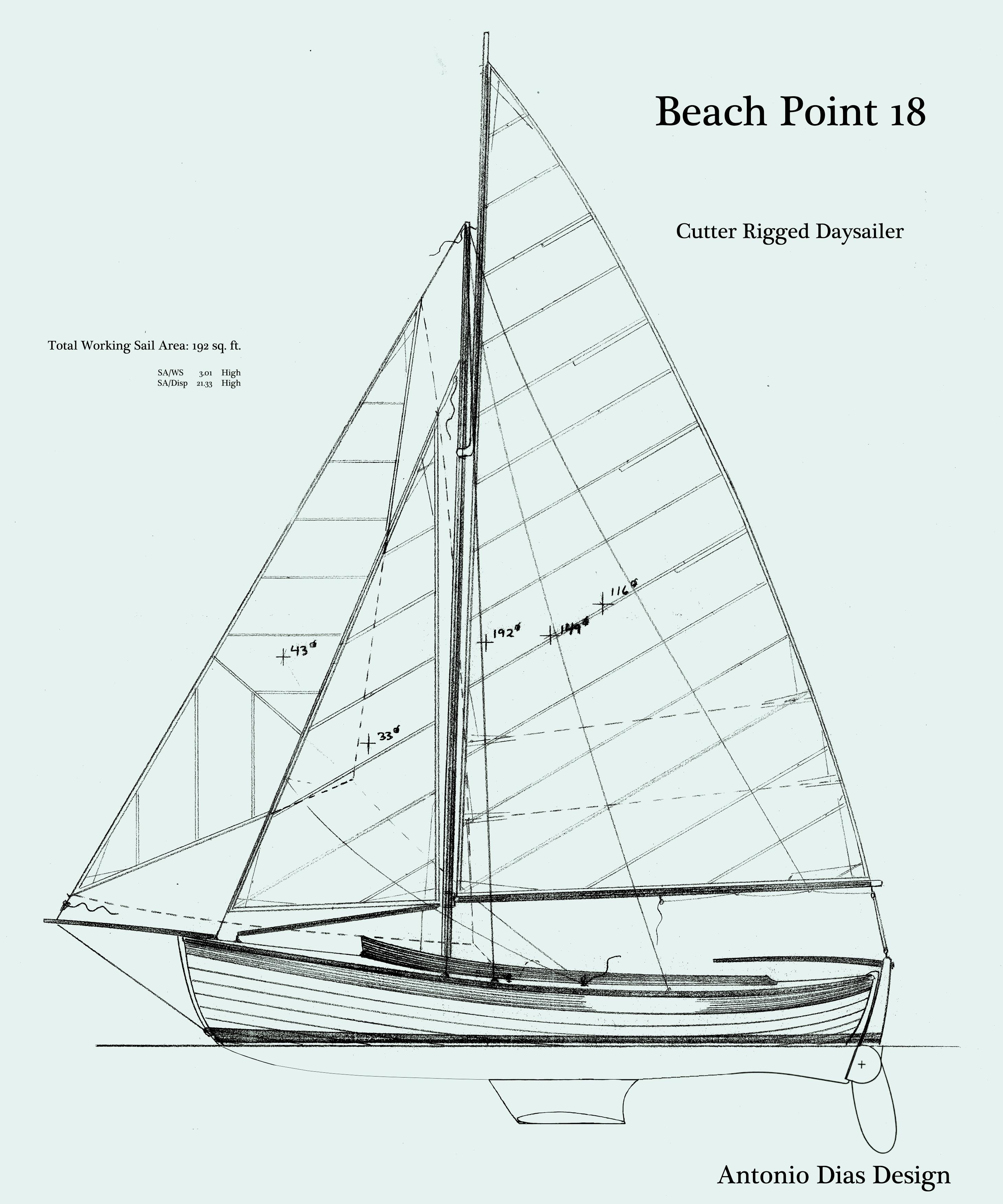 Beach Point Daysailer Cutter Sail Plan keeled