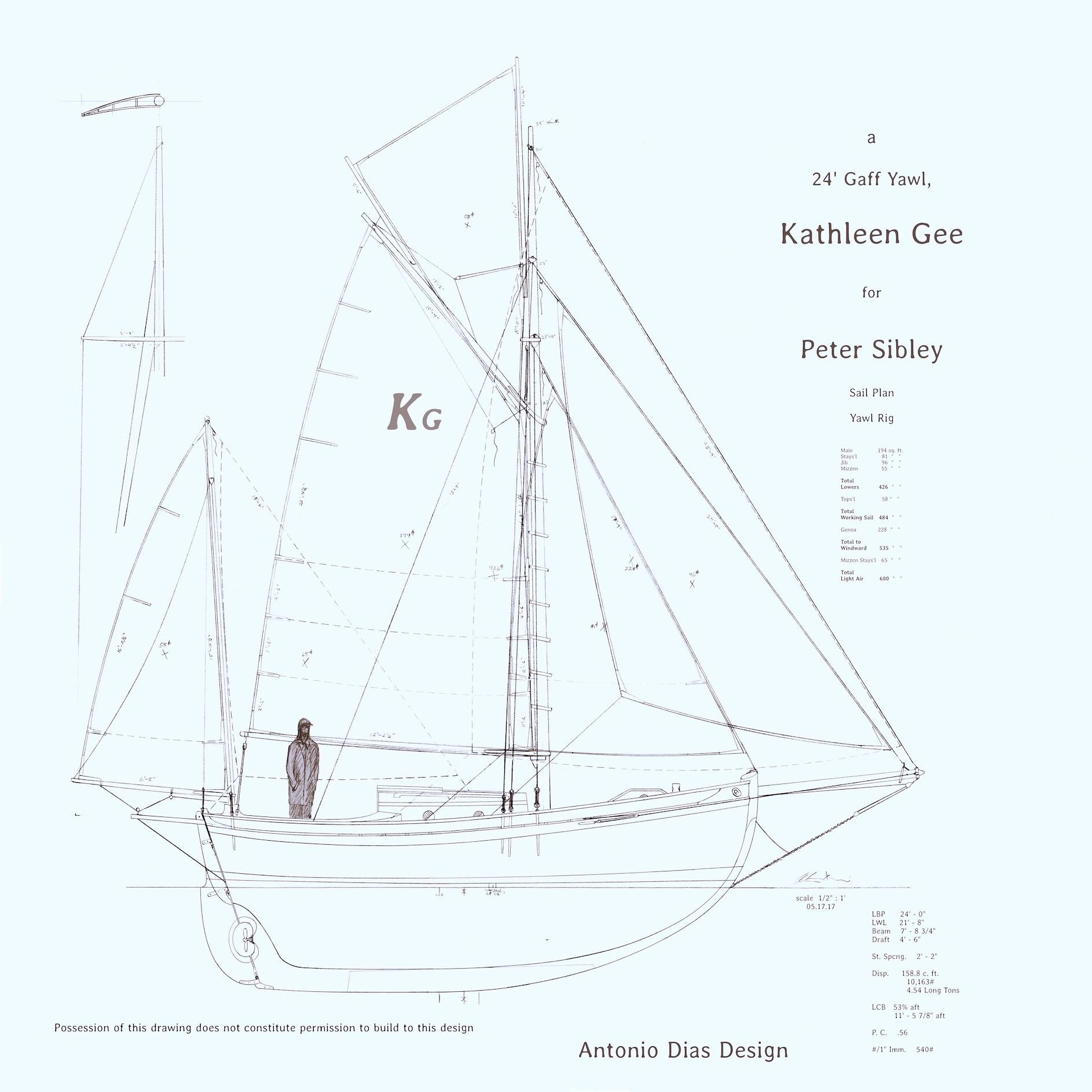 Kathleen Gee Yawl Sail Plan Blueprint 1.8k