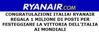 Ryanair regala un milione di posti aerei