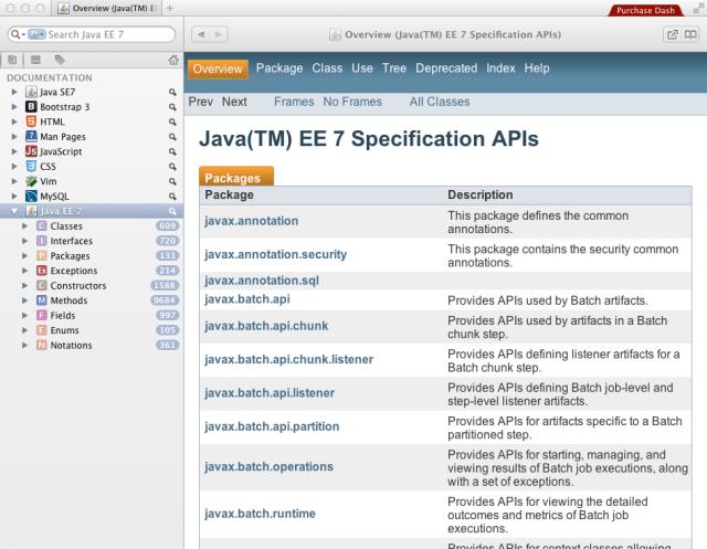 Java EE 7 in Dash