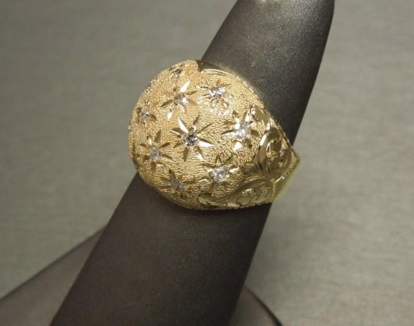 Engraved 14k Gold 0.60tcw Diamond Fleur De Lis Dome Ring C1950