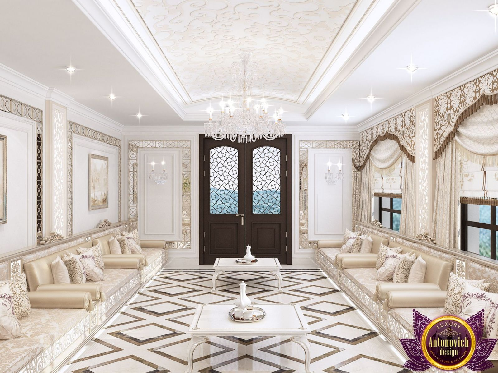 Beautiful exclusive marble floors of Luxury Antonovich