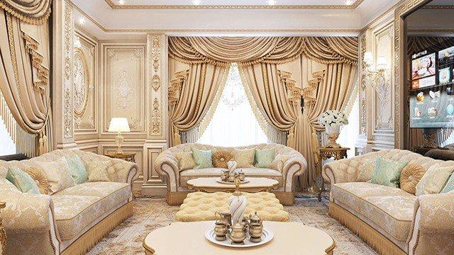 photo of living room design ceiling tiles family sitting in dubai by luxury antonovich