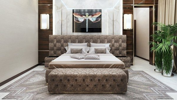 modern bed design bedroom Bedroom Interior Design in Dubai by Luxury Antonovich Design