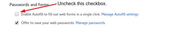 Disable Autofill on Chrome