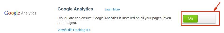 Google Analytics App Active on Cloudflare