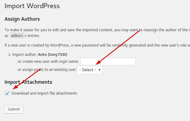 Import WordPress