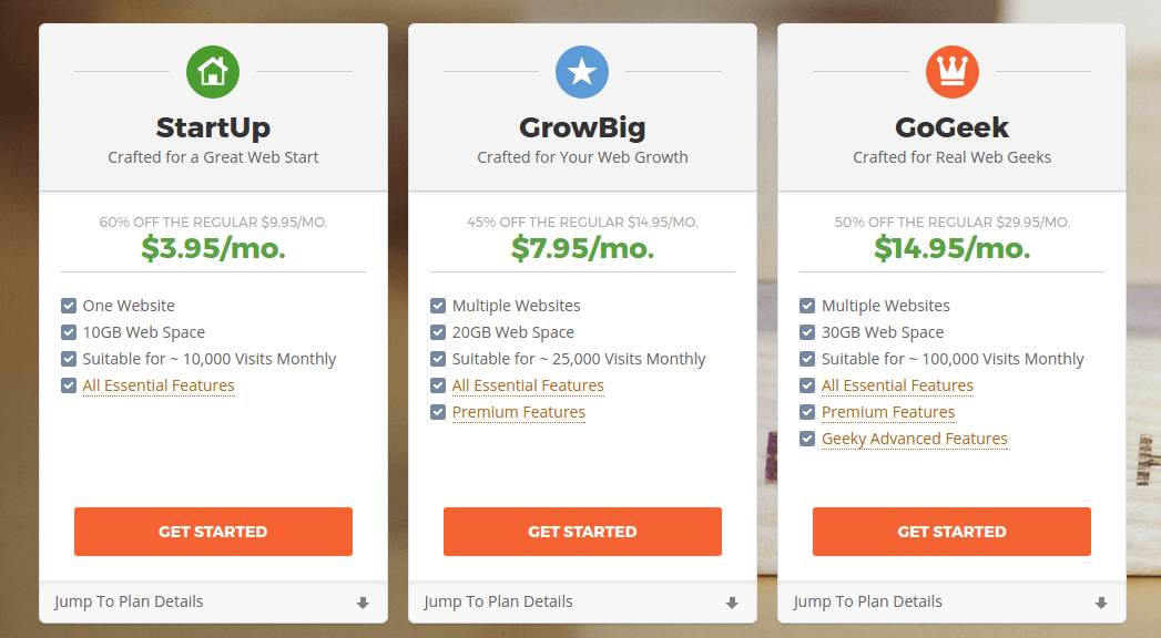 SiteGround Shared Hosting Plans Compared