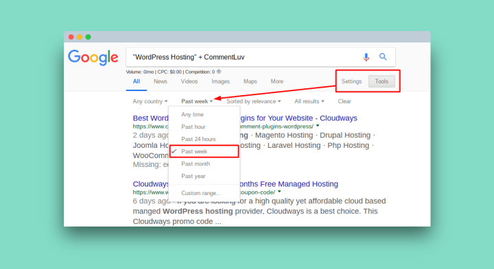 Change search results time in Google