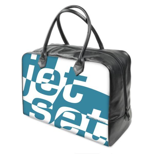 antony yorck holiday traveling bag weekender leather jet set blue white black 144567 01