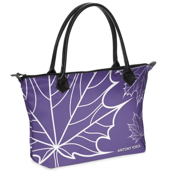 antony yorck shopper tasche maple leaf floral print style purple white 134327 01