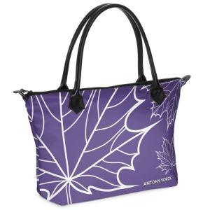 antony yorck shopper tasche maple leaf floral print style purple white 134327 01
