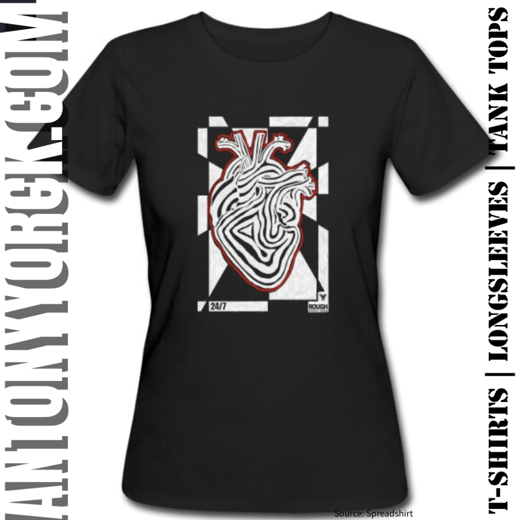antony yorck rough design 24/7 heart beat power love tshirt 001