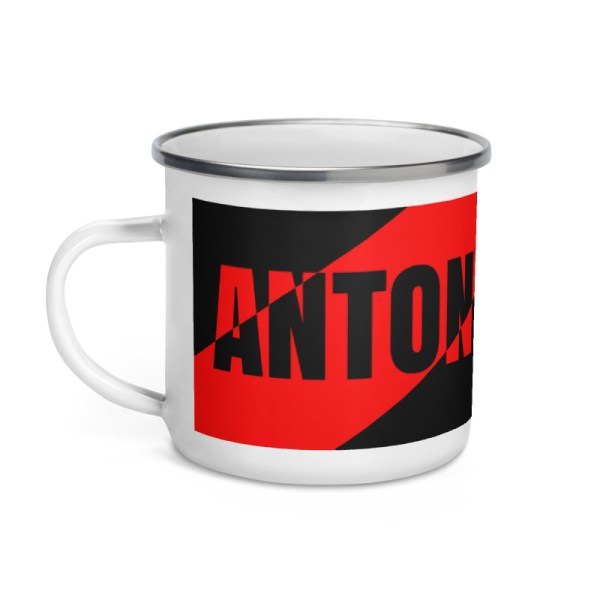 Antony Yorck • Emaille Becher YY brand black red stripes • Collection OBVIOUS 2 antony yorck enamel mug outdoor obvious stripes red black 0004