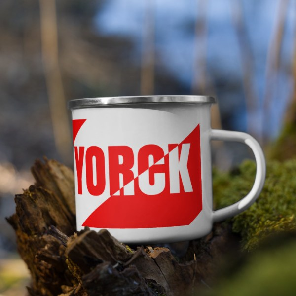 Antony Yorck • Emaille Becher YY brand red stripes • Collection OBVIOUS 4 antony yorck enamel mug outdoor obvious stripes red white 0005