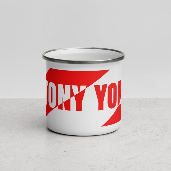 Antony Yorck • Emaille Becher YY brand red stripes • Collection OBVIOUS 3 antony yorck enamel mug outdoor obvious stripes red white 0006