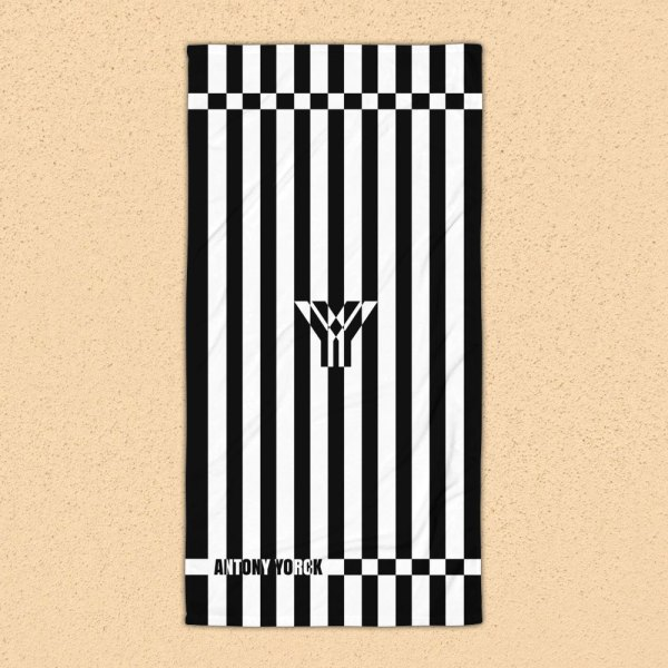 Antony Yorck • Strandtuch Badetuch Handtuch Saunatuch • schwarz weiß schräg gestreift • collection OBVIOUS 2 antony yorck beach towel blanket badetuch strandtuch stripes blackwhite 0001