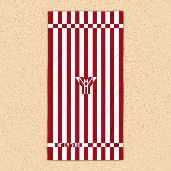 Strandtuch • cherry / kirschrot weiß schräg gestreift • collection OBVIOUS 1 antony yorck beach towel blanket badetuch strandtuch stripes cherry red white 0001