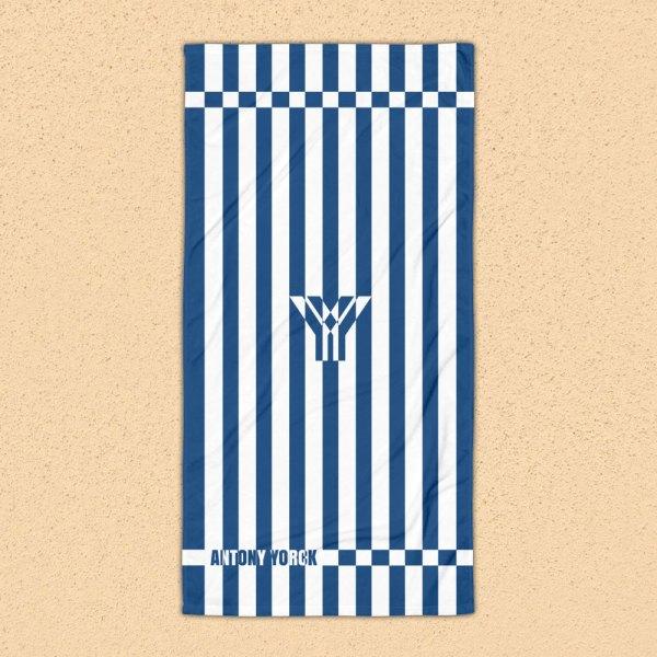 Antony Yorck • Strandtuch Badetuch Handtuch Saunatuch • blau weiß schräg gestreift • collection OBVIOUS 1 antony yorck beach towel blanket badetuch strandtuch stripes classic blue white 0001