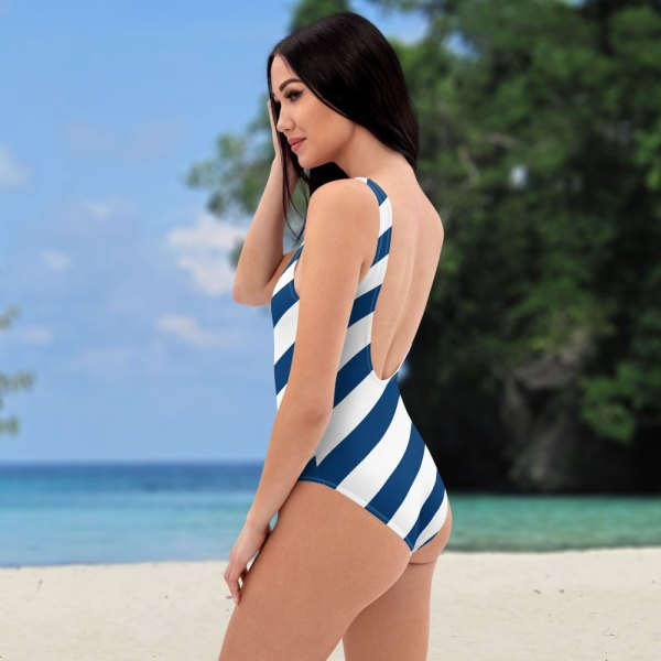 Antony Yorck • Badeanzug Damen blau weiß schräg gestreift • collection OBVIOUS 5 antony yorck one piece swimsuit badeanzug swimwear bechwear stripes blue white 0004a