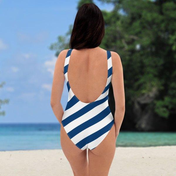 Antony Yorck • Badeanzug Damen blau weiß schräg gestreift • collection OBVIOUS 3 antony yorck one piece swimsuit badeanzug swimwear bechwear stripes blue white 0014a