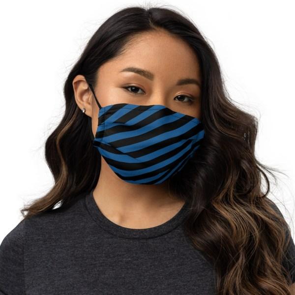 Antony Yorck Microfaser Designer Gesichtsmaske blau schwarz gestreift Mund-Nasen-Maske anpassbar an Nase verstellbare Ohrschlaufen 0009