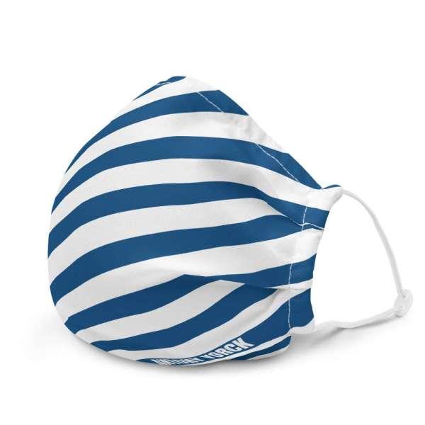 Antony Yorck Online Shop Microfaser Designer Gesichtsmaske blau weiss gestreift Mund-Nasen-Maske anpassbar an Nase verstellbare Ohrschlaufen 0010