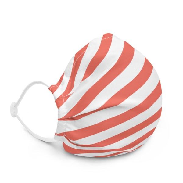 Antony Yorck Online Shop Microfaser Designer Gesichtsmaske coral rot weiss gestreift Mund-Nasen-Maske anpassbar an Nase verstellbare Ohrschlaufen0017