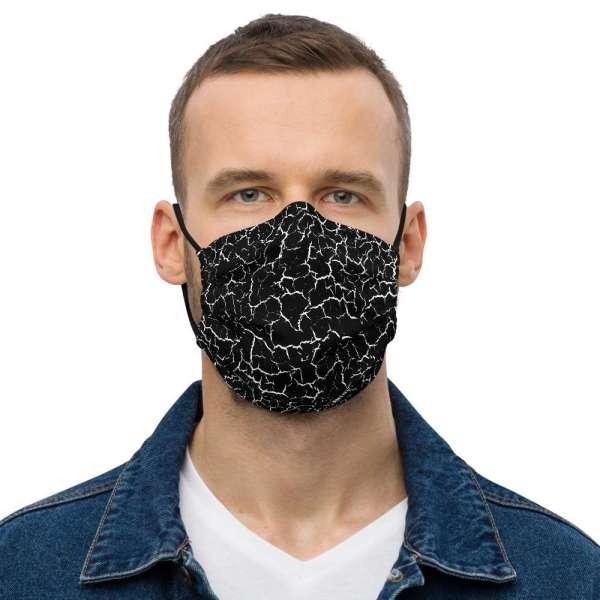 Antony Yorck Microfaser Designer Gesichtsmaske Craquelee schwarz Mund-Nasen-Maske anpassbar an Nase verstellbare Ohrschlaufen0004