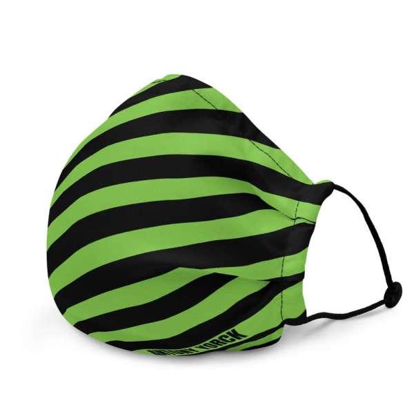 Antony Yorck Microfaser Designer Gesichtsmaske grün schwarz gestreift Mund-Nasen-Maske anpassbar an Nase verstellbare Ohrschlaufen0056